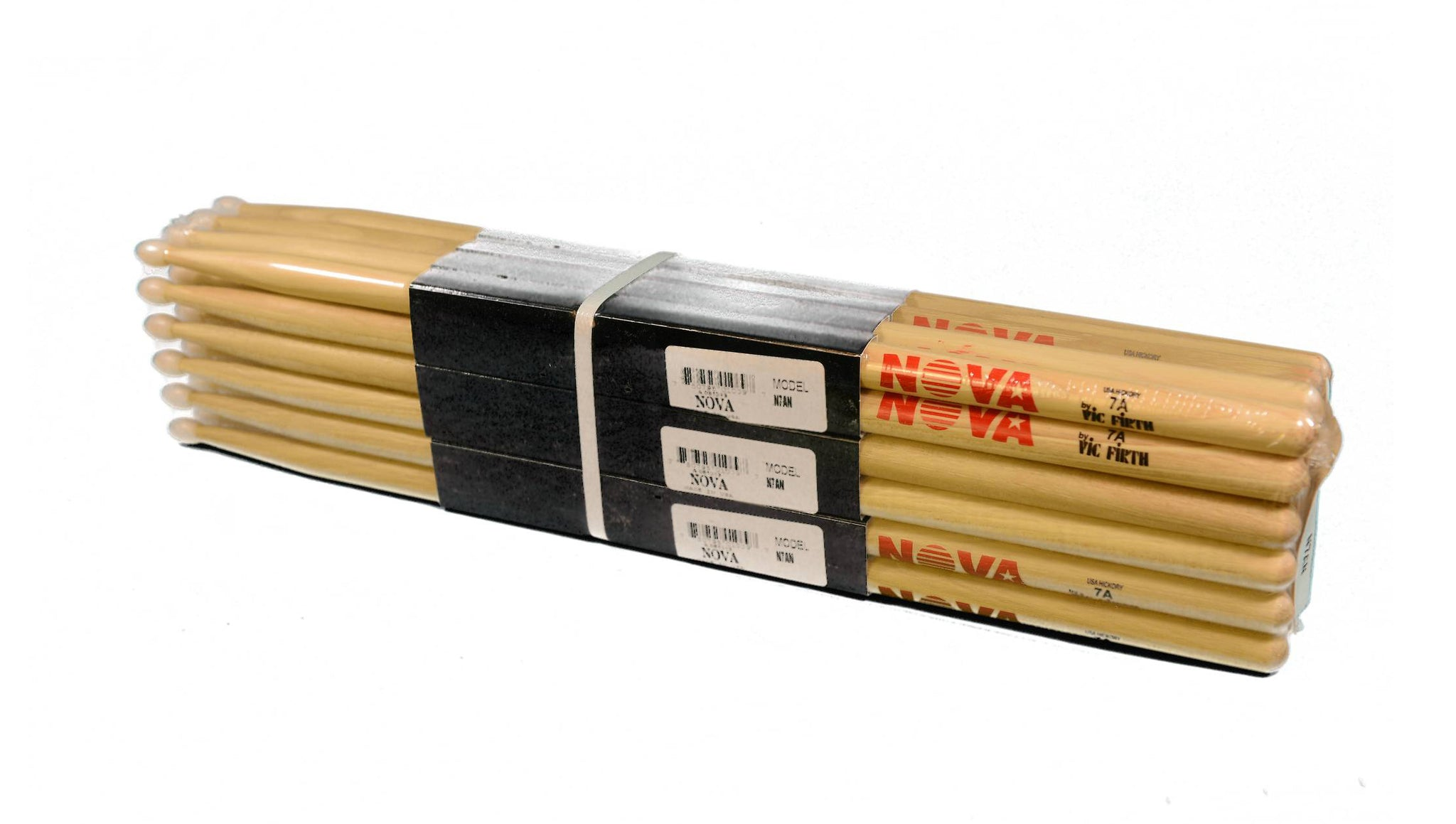 (12-Pairs) Vic Firth® NOVA® 7A Hickory Drumsticks, Wood Sticks, Nylon Tip. #N7AN