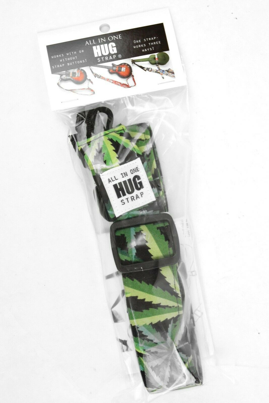 All-In-One Ukulele Hug Strap® - Marijuana Cannabis Pot Leaf Green Black