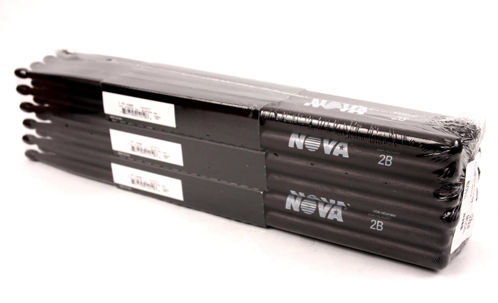 (12-Pairs) Vic Firth® NOVA® 2B Hickory Drumsticks, Black Sticks, Black Wood Tip. #N2BB