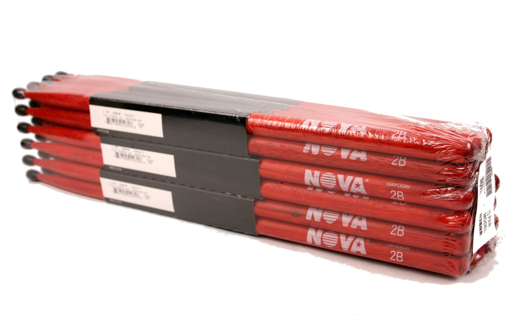 (12-Pairs) Vic Firth® NOVA® 2B Hickory Drumsticks, Red Sticks, Black Nylon Tip. #N2BNR