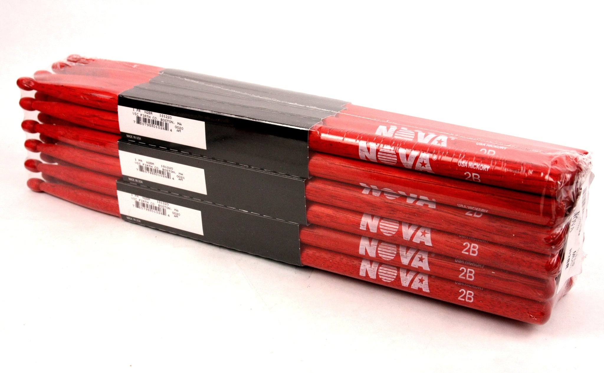 (12-Pairs) Vic Firth® NOVA® 2B Hickory Drumsticks, Red Sticks, Red Wood Tip. #N2BR