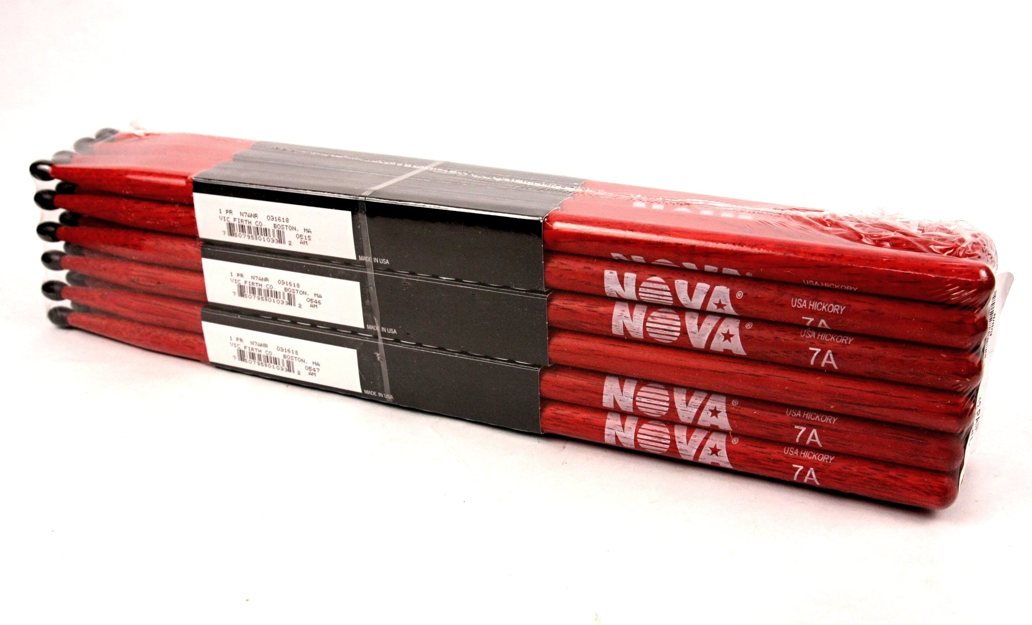 (12-Pairs) Vic Firth® NOVA® 7A Hickory Drumsticks, Red Sticks, Black Nylon Tip. #N7ANR