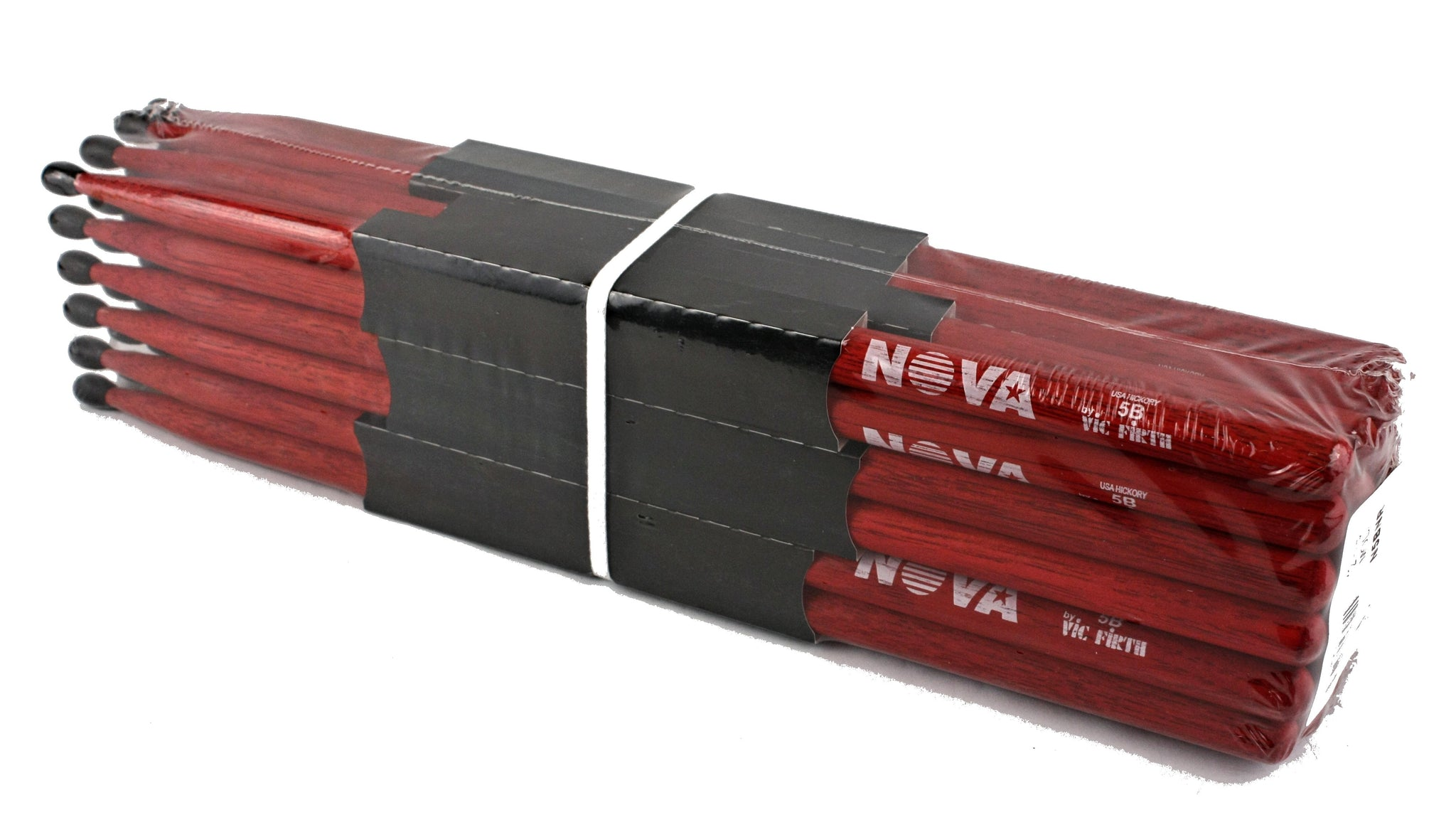 (12-Pairs) Vic Firth® NOVA® 5B Hickory Drumsticks, Red Sticks, Black Nylon Tip. #N5BNR