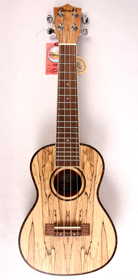 Amahi UK-770-C Acoustic Concert Ukulele Uke Spalted Maple NEW w/ Gig Bag