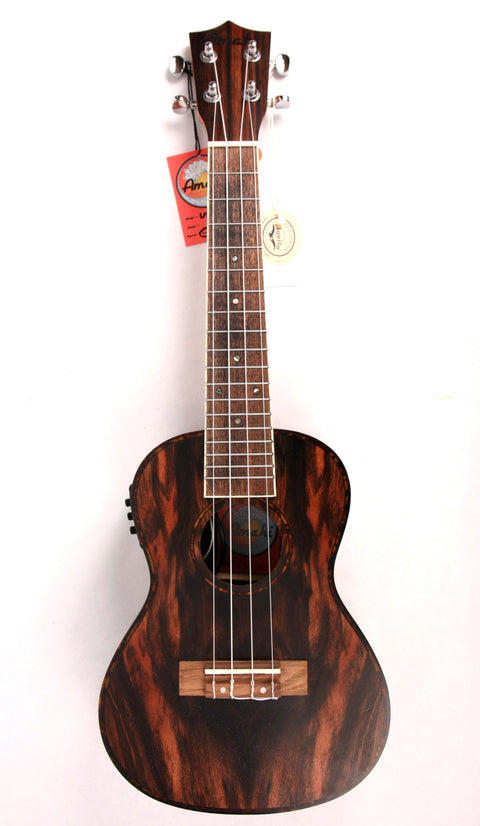 Amahi UK-990C-EQ Acoustic/Electric Concert Ukulele Uke Ebony NEW w/ Gig Bag