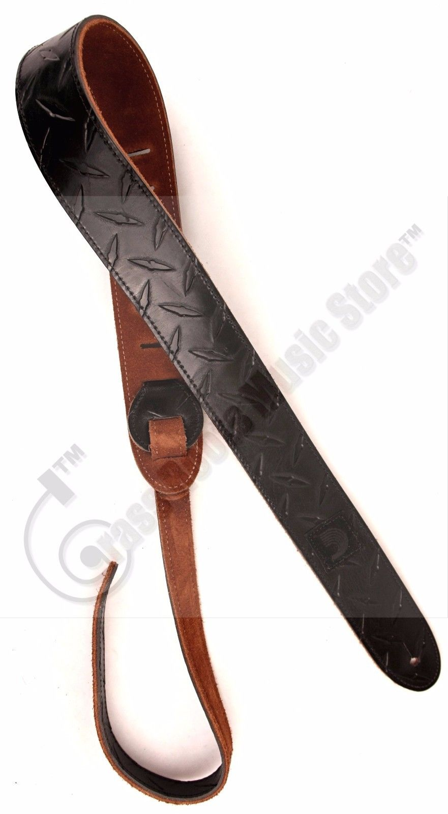 "D'Addario PLANET WAVES Diamond Plate Embossed Leather Guitar Strap 2"" - Black"