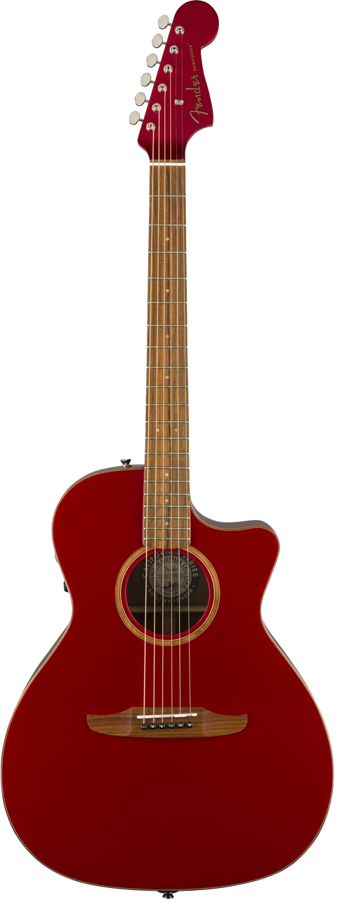 Fender Newporter Classic Acoustic / Electric Guitar - Hot Rod Red Metallic