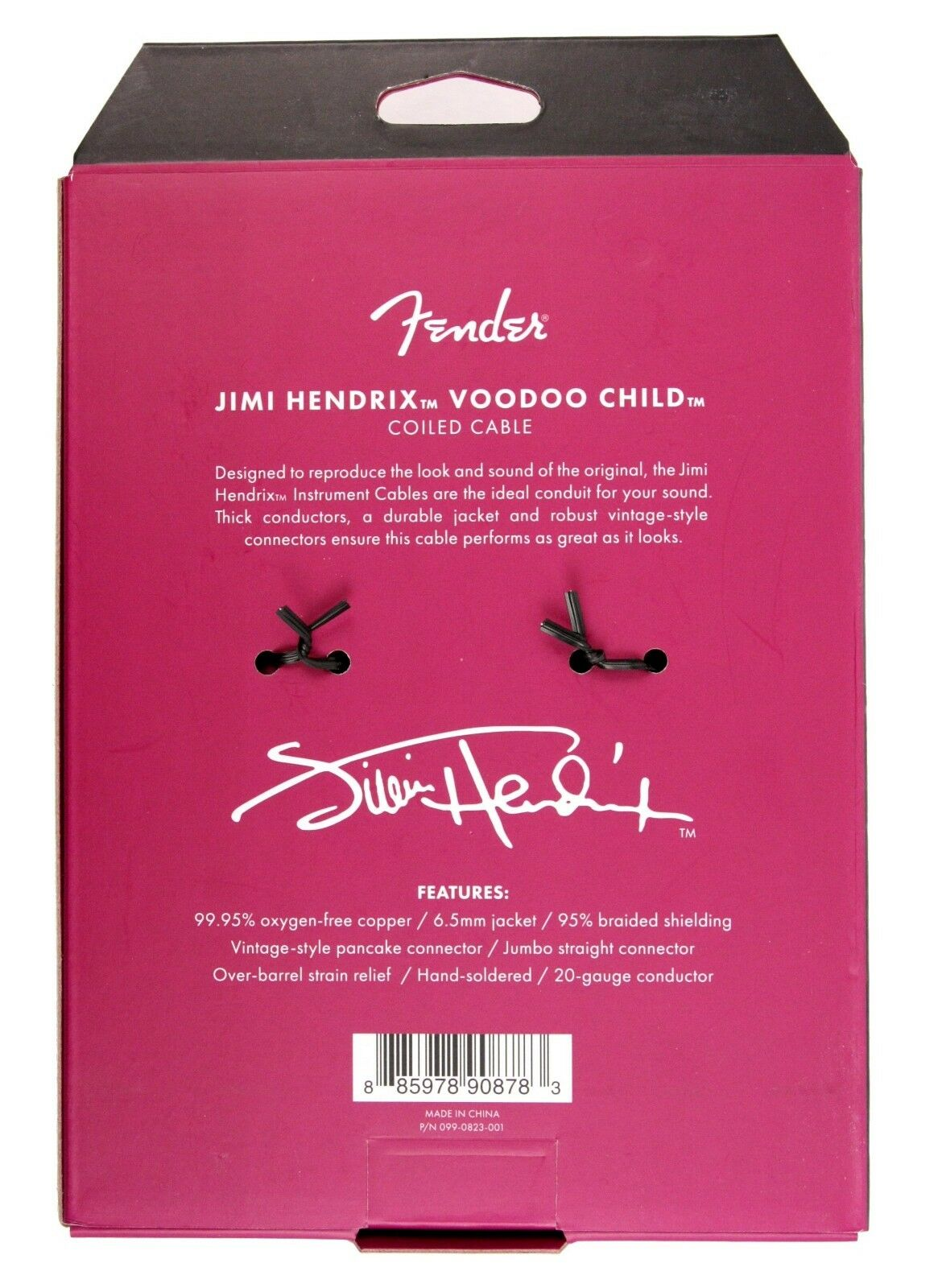 Fender Hendrix Voodoo Child Coiled Cable 30' - Purple, Straight to Angled