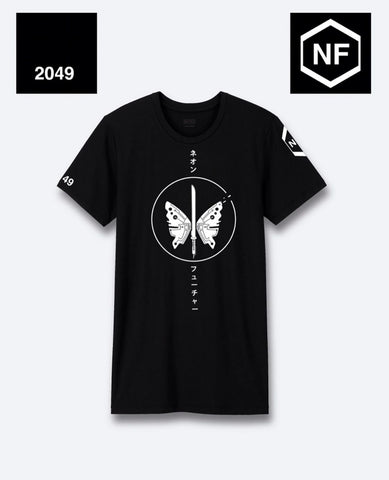 Neon Future Black and White Butterfly T-Shirt - Japanese