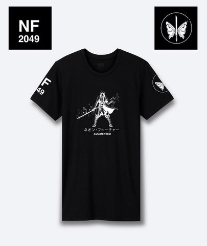 Neon Future Black and White Samurai Augmented T-Shirt - Japanese