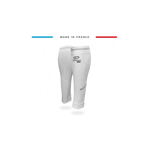"BV Sport BOOSTER Elite EVO2 (New 2019 Design) White Compression Calf Sleeves ""FOR EFFORT"" (Pair)"
