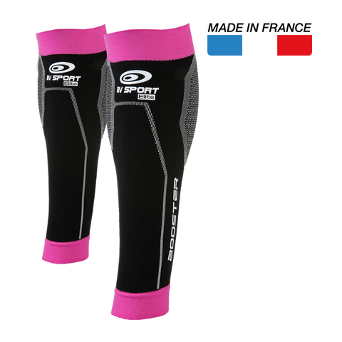 "BV Sport Booster Elite Black Pink Compression Calf Sleeves ""FOR EFFORT"" (Pair)"