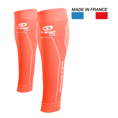 "BV Sport Booster Elite Coral Compression Calf Sleeves ""FOR EFFORT"" (Pair)"