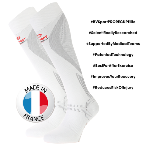 "BV Sport PRORECUP ELITE White Compression Socks ""FOR RECOVERY"" (Pair)"