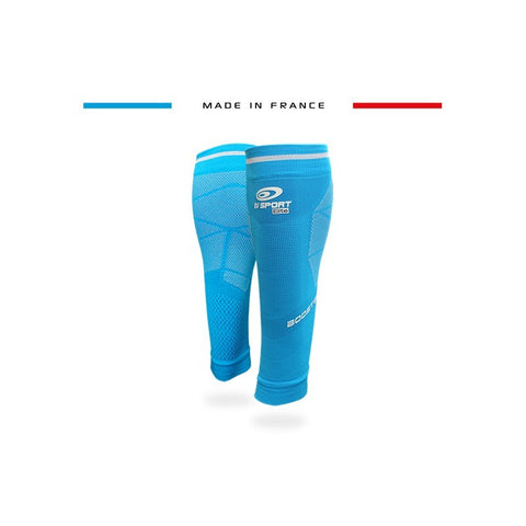 "BV Sport BOOSTER Elite EVO2 (New 2019 Design) Blue Compression Calf Sleeves ""FOR EFFORT"" (Pair)"