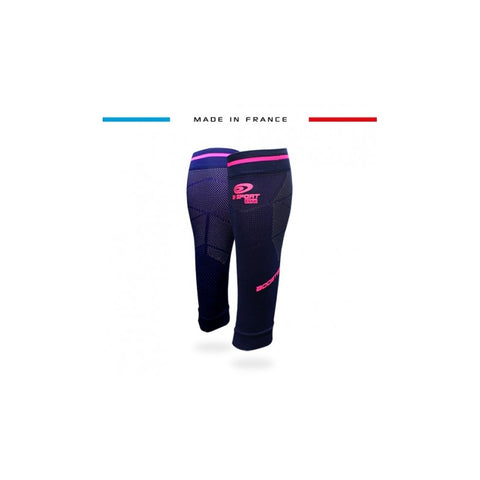 "BV Sport BOOSTER Elite EVO2 (New 2019 Design) Navy & Pink Compression Calf Sleeves ""FOR EFFORT"" (Pair)"
