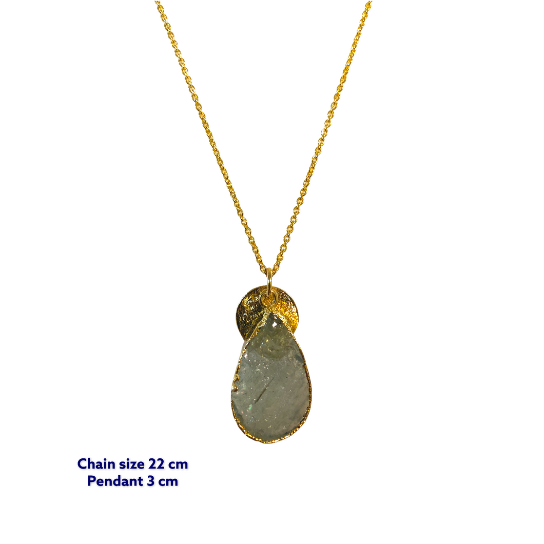 Tear Drop Aqua Marine Gold Necklace