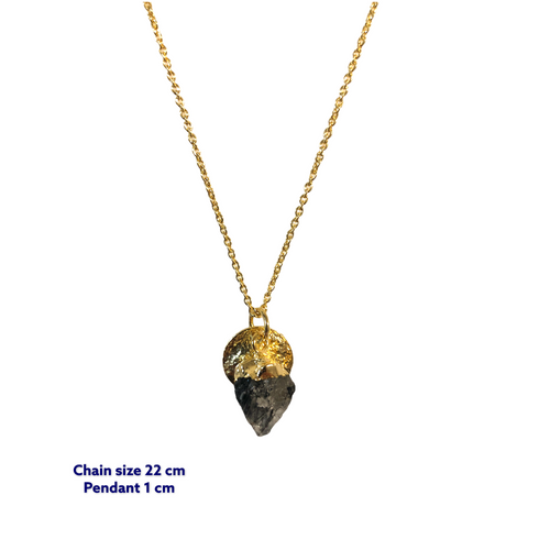 Onyx Raw Mini Gold Necklace
