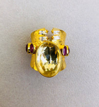 Lemon Quarts Rubies Caf Roman Ring