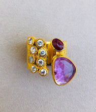 Turmaline Ruby Stones Diomond Cut Zircons Roman Ring