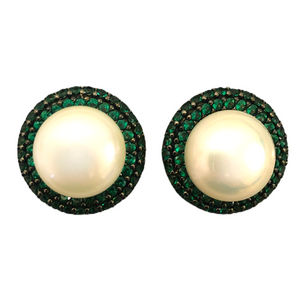 Round Pearl Stud Earrings