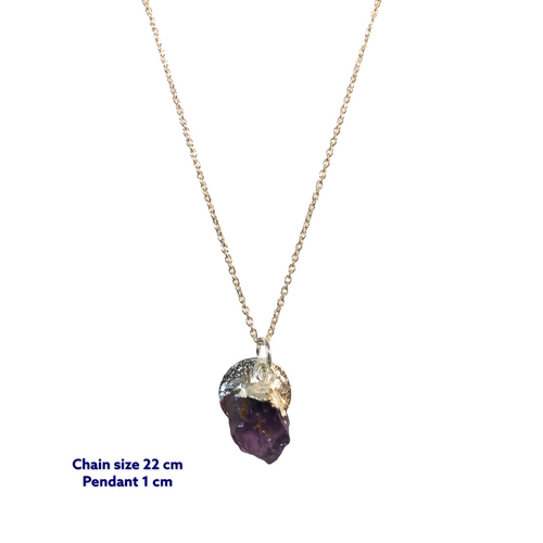 Mini Raw Amethyst Stone Necklace