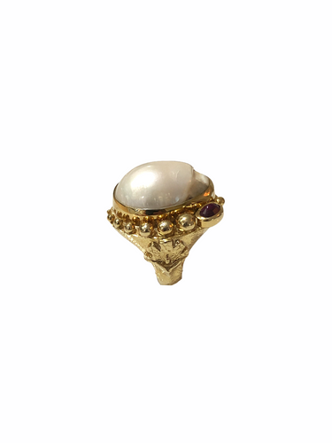 Baroque Pearl,Single Red Turmaline Roman Ring
