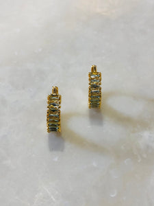 Baugette Zircon Earrings,Small Hoop Earrings,Gold hoop earrings,dainty earrings,huggie hoop earrings,hoop earrings