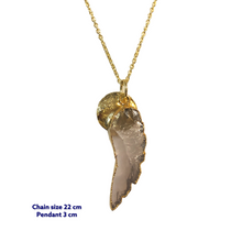 Wing Rosequartz Gold Necklace