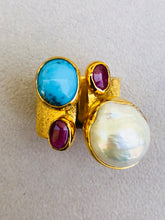Baroque Pearl Turquoise Turmalines Roman Ring