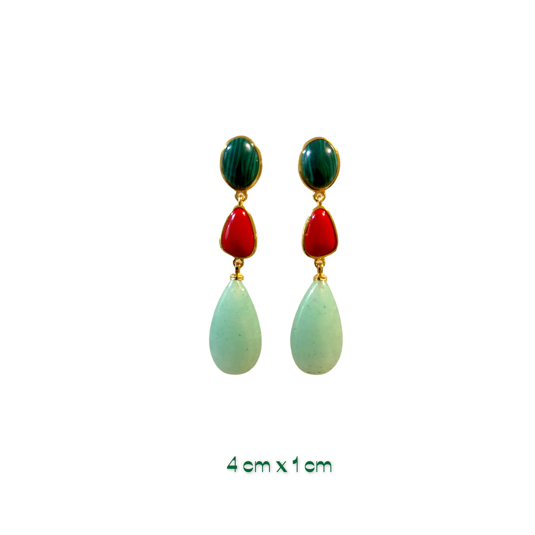 Malachite Coral Multi Stone Earrings ,Trio Earrings,Goldplated Earrings , Three Stone Earrings , Semi Precious Stone Earrings , Gift For Her , Design Earring