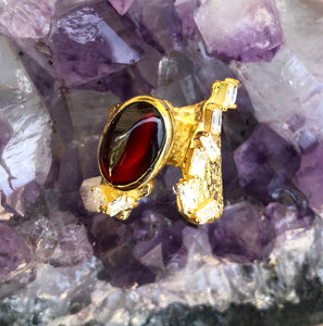 Hessonite Stone Diomond Cut Zircon Roman Ring