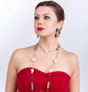Baroque Pearl Diomond Cut Red Zircon Statement  Necklace