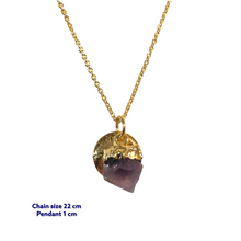 Raw Amethyst Mini Gold Necklace