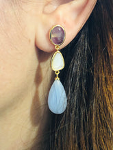 Multi Stone Earrings , Goldplated Earrings , Three Stone Earrings , Semi Precious Stone Earrings , Gift For Her