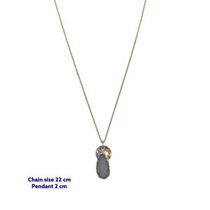 Tear Drop Raw Druzy Stone Necklace