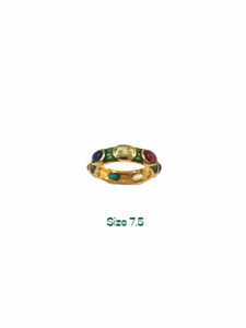 Green Enamel Seven Multicolor Stones Ring