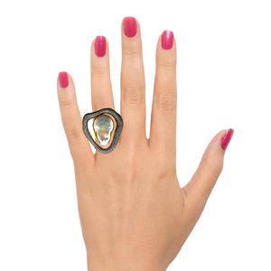 White Zirconia Baroque Pearl Roman Ring