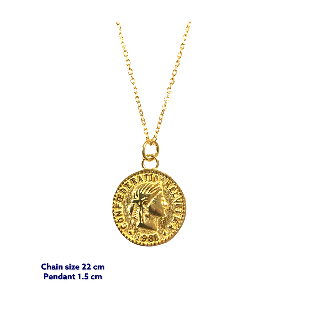 Helvetica Gold Coin Necklace