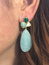 Jalo Amazonite Multi Stone Earrings ,Trio Earrings,Goldplated Earrings , Three Stone Earrings , Semi Precious Stone Earrings , Gift For Her