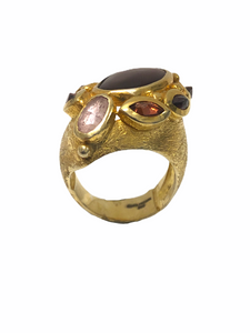 Hessonite Turmaline Stones Roman Ring