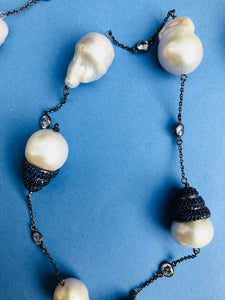 Baroque Pearl Onyx Zircon Long Necklace