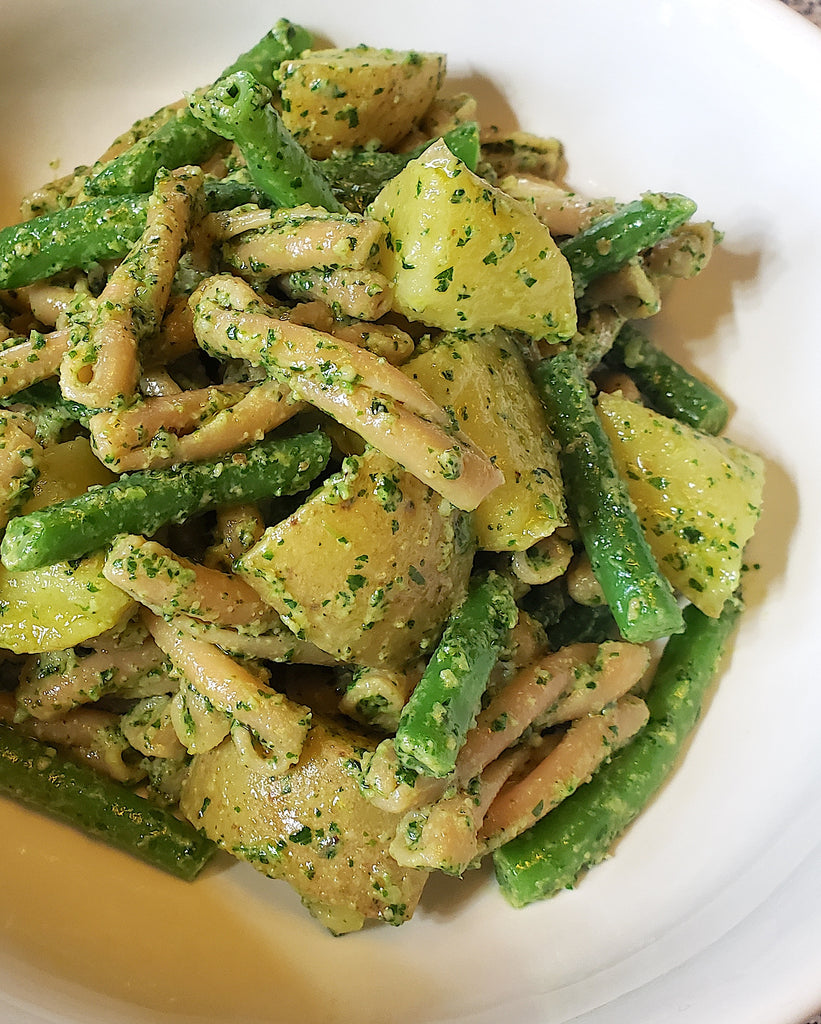 Chickpea Pasta with Green Beans, Potatoes and Walnut Pesto