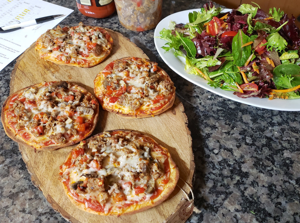 Mini Pizzas with Side Green Salad