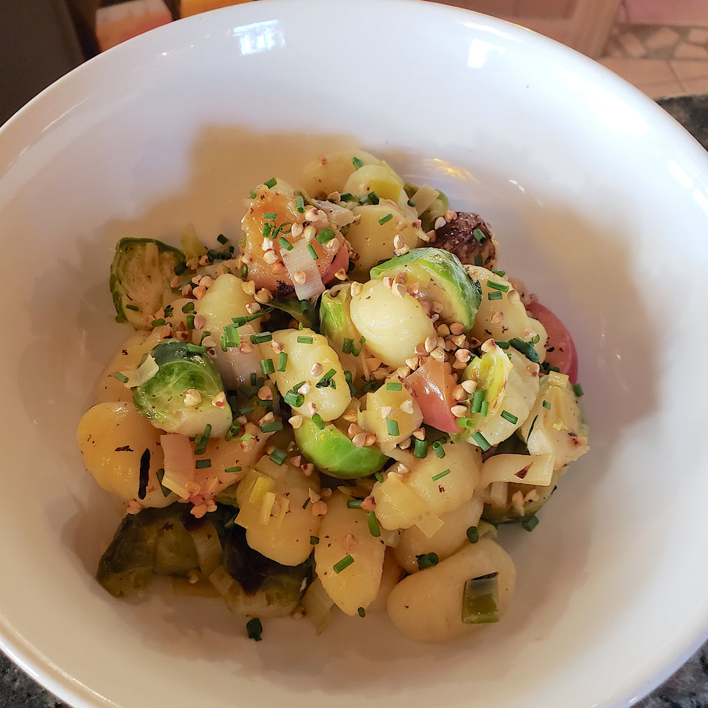 Brown Butter Gnocchi with Brussels, Apples and Leeks