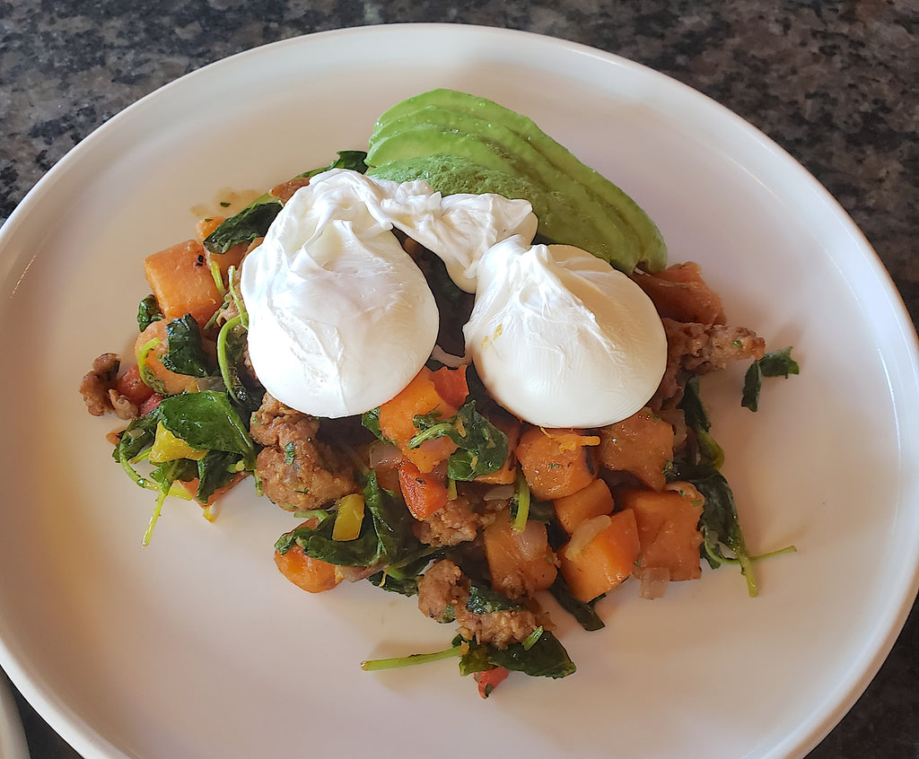 Sweet Potato Chorizo Hash with Poached Eggs