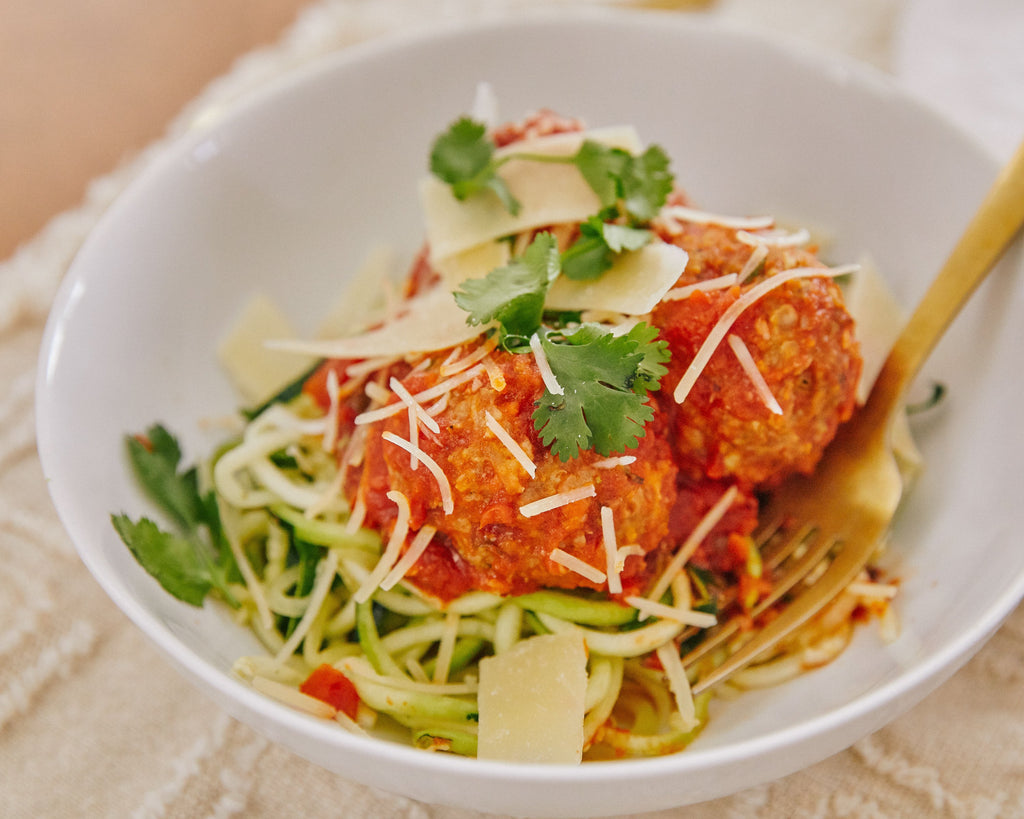 Italian Turkey Meatballs over Zucchini Noodles