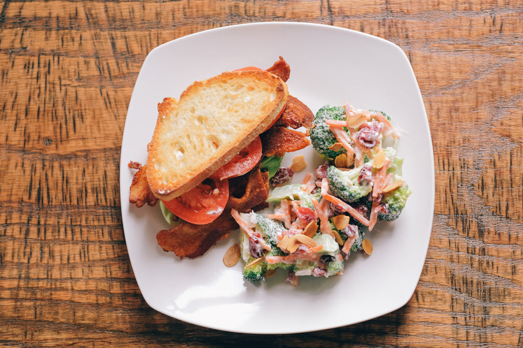 BLT with Rosemary Mayo and Broccoli Salad