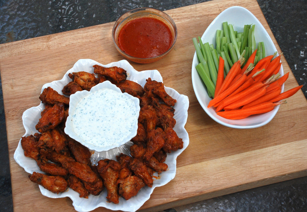 Baked Chicken Wings with Buttermilk Herb Dressing