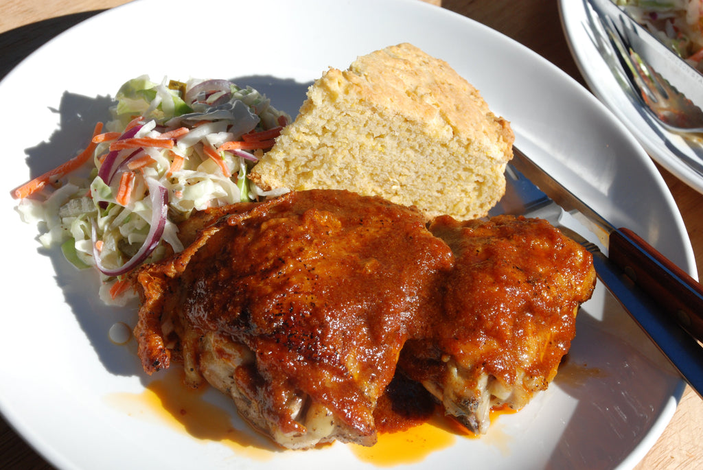 Pan-Roasted Memphis Hot Chicken with B&B Pickle Slaw and Skillet Cornbread